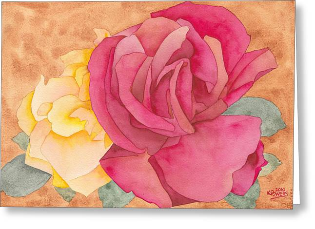 Two Roses Greeting Card by Ken Powers