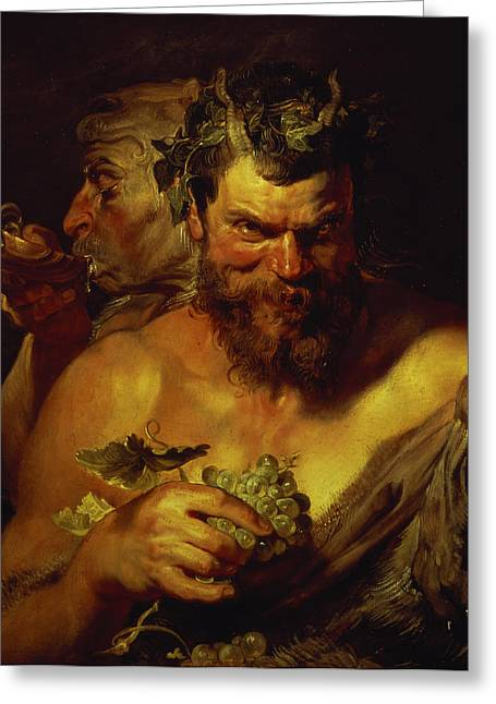 Two Satyrs Greeting Card by Peter Paul Rubens