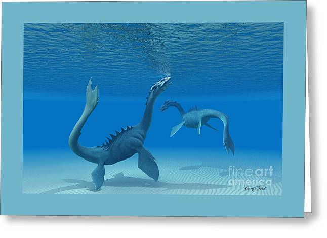 Two Sea Dragons Greeting Card by Corey Ford
