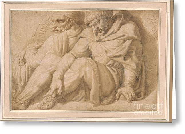 Two Seated Barbarian Captives Greeting Card