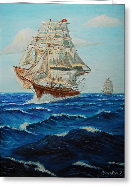 Two Ships Sailing Greeting Card by Quwatha Valentine