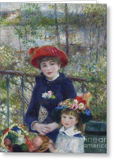 Two Sisters Or On The Terrace Greeting Card by Pierre Auguste Renoir