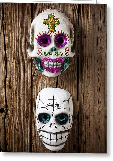 Two Skull Masks Greeting Card by Garry Gay
