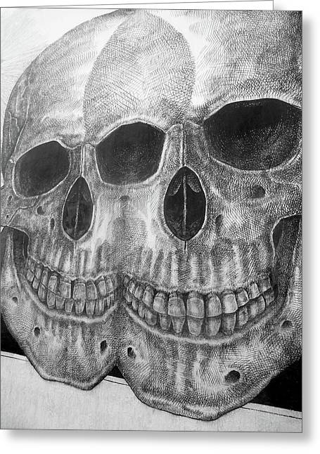 Two Skulls ... Greeting Card by Juergen Weiss
