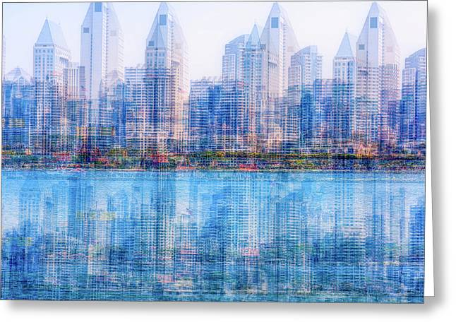 Two Skylines Greeting Card by Joseph S Giacalone