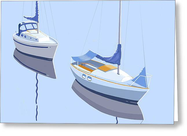 Two Sloops Greeting Card