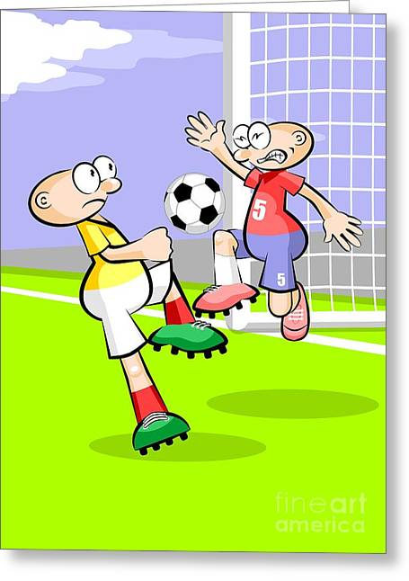 Two Soccer Players Compete For The Ball In Front Of The Goal Greeting Card