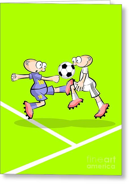Two Soccer Players Fight For The Possession Of The Ball On One Side Of The Playing Field Greeting Card