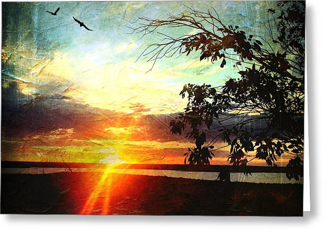 Two Souls Flying Off Into The Sunset  Greeting Card