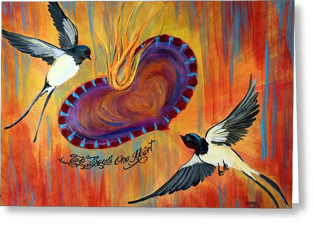 Two Souls One Heart Greeting Card