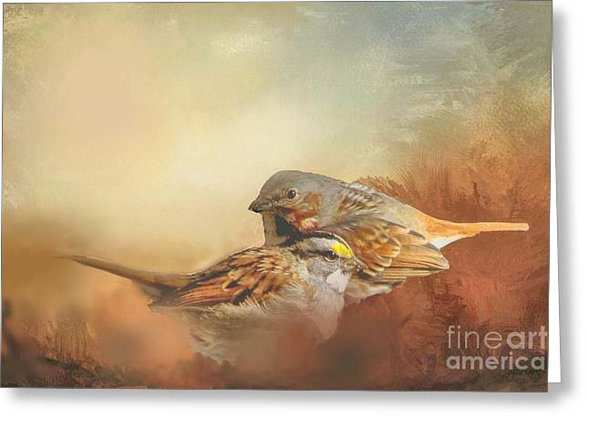 Sparrows In The Marsh 2 Greeting Card by Janette Boyd