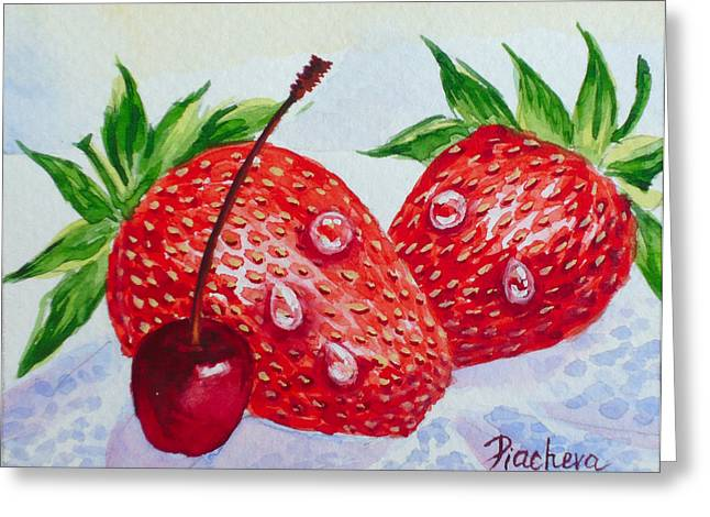 Two Strawberries And Cherry. Greeting Card by Natalia Piacheva