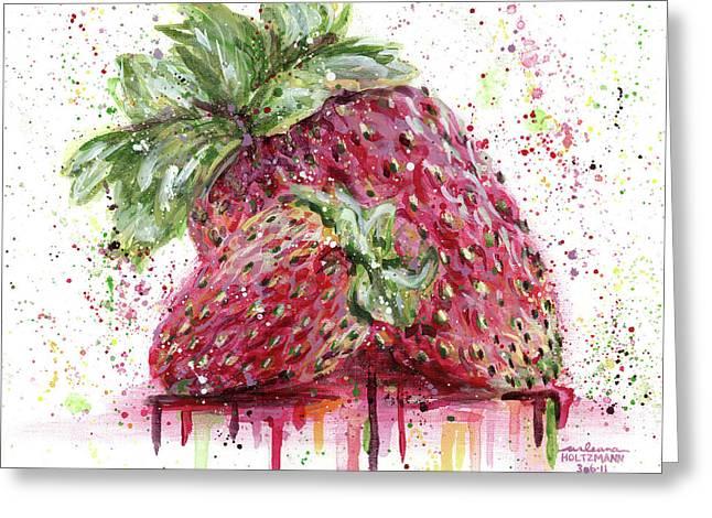 Two Strawberries Greeting Card by Arleana Holtzmann