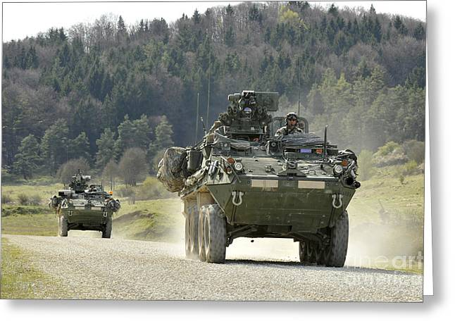 Two Stryker Vehicles At The Hohenfels Greeting Card
