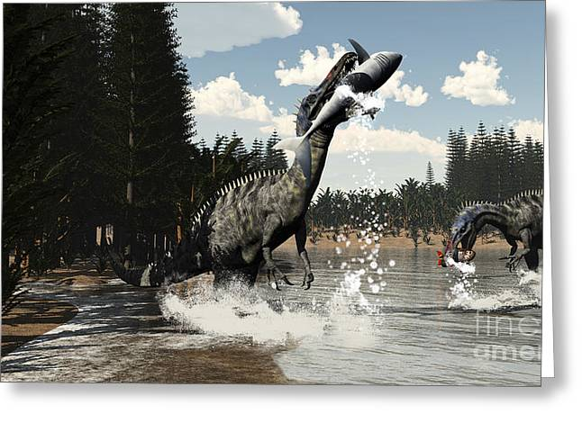 Two Suchomimus Dinosaurs Catch A Fish Greeting Card by Elena Duvernay