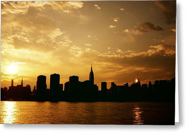 Beautiful Cities Greeting Cards - Two Suns - The New York City Skyline in Silhouette at Sunset Greeting Card by Vivienne Gucwa
