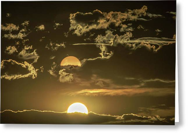 Two Suns Setting Greeting Card