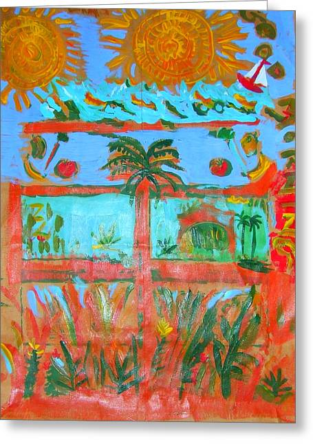 Greeting Card featuring the painting Two Suns Today by Angela Annas