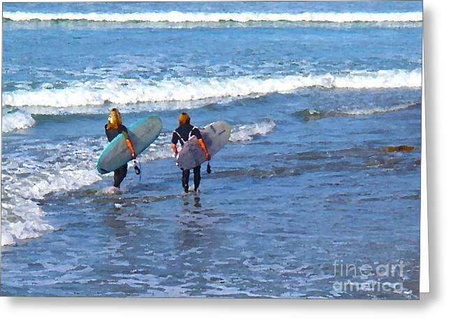 Two Surf Friends Greeting Card