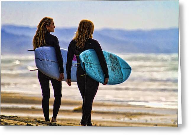 Two Surf Sisters Greeting Card