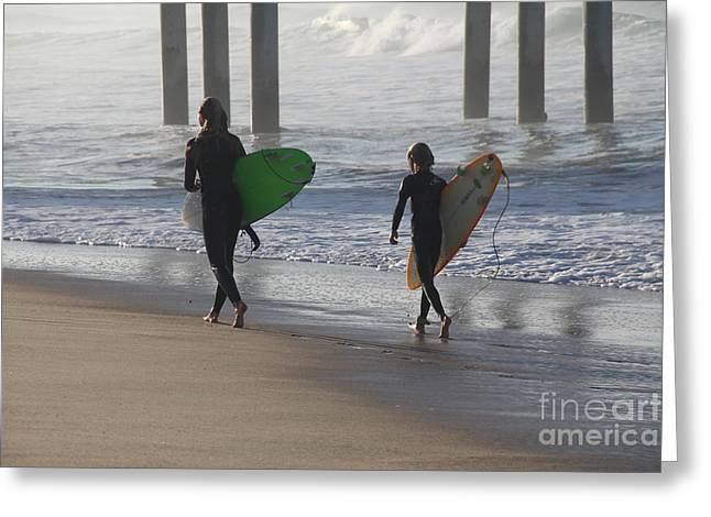 Two Surfers In Step Huntington Beach Greeting Card