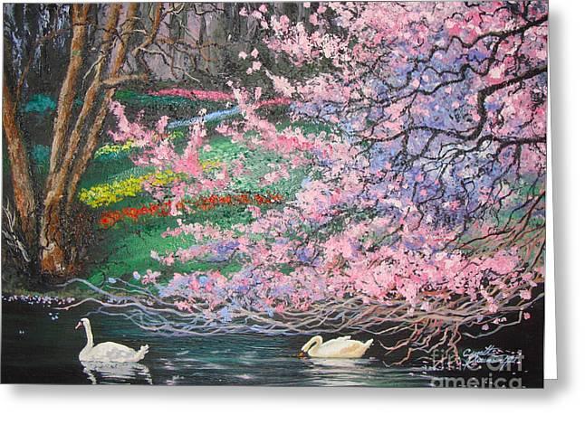 Two Swans Greeting Card by Cynthia Sorensen