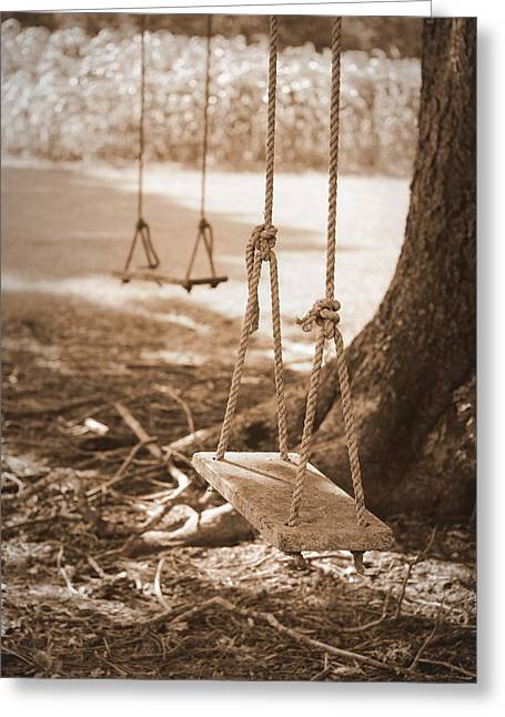 Two Swings - Sepia Greeting Card
