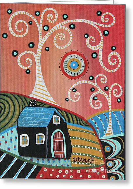 Two Swirl Trees Greeting Card by Karla Gerard