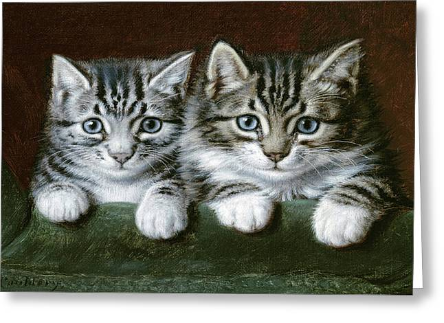 Two Tabby Kittens  Greeting Card by Horatio Henry Couldery