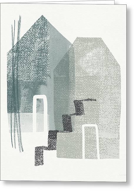 Two Tall Houses- Art By Linda Woods Greeting Card