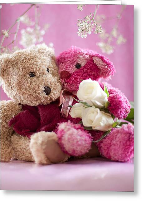 Greeting Card featuring the photograph Two Teddy Bears With Roses by Ethiriel  Photography