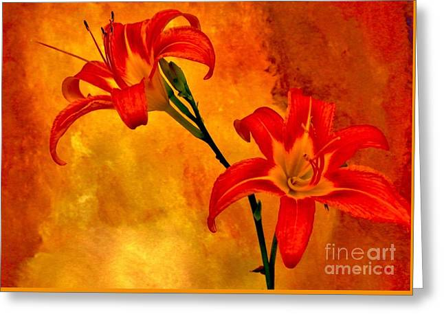 Greeting Card featuring the digital art Two Tigerlilies by Marsha Heiken