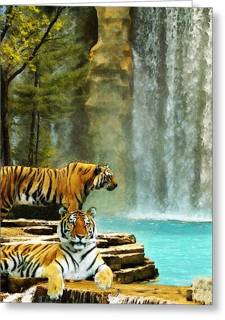 Two Tigers Greeting Card
