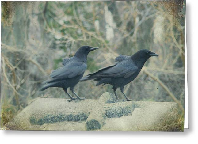 Two Tombstone Crows Greeting Card by Gothicrow Images
