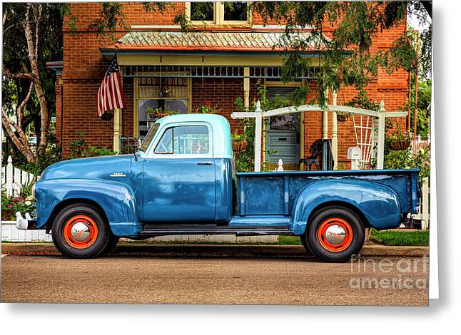 Greeting Card featuring the photograph Two Tone Blue Truck by Craig J Satterlee