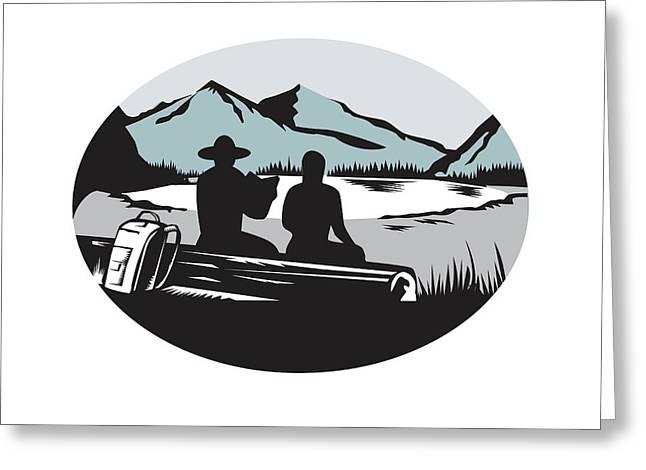 Two Trampers Sitting On Log Lake Mountain Oval Woodcut Greeting Card