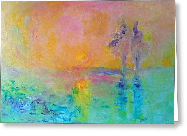 Two Trees In Sunset Greeting Card by Demeter Gui