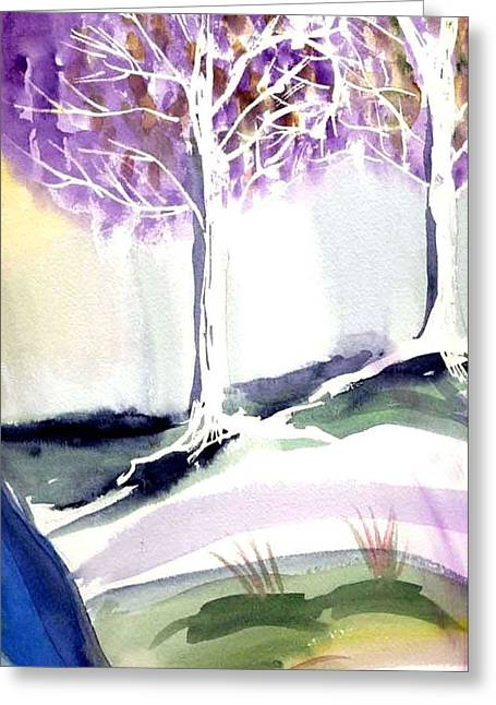 Two Trees Greeting Card by Janet Doggett