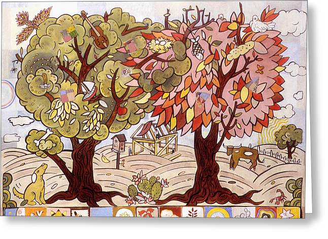 Two Trees Greeting Card by Karl Frey