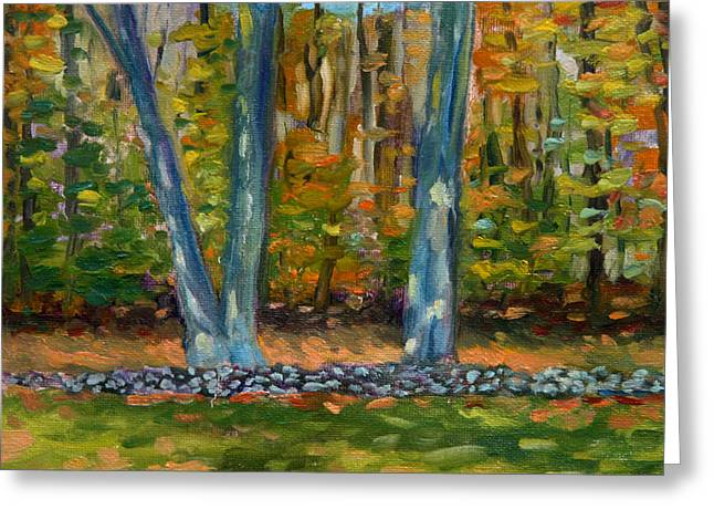 Dappled Light Greeting Cards - Two Trees Stone Wall Greeting Card by Jane  Simonson