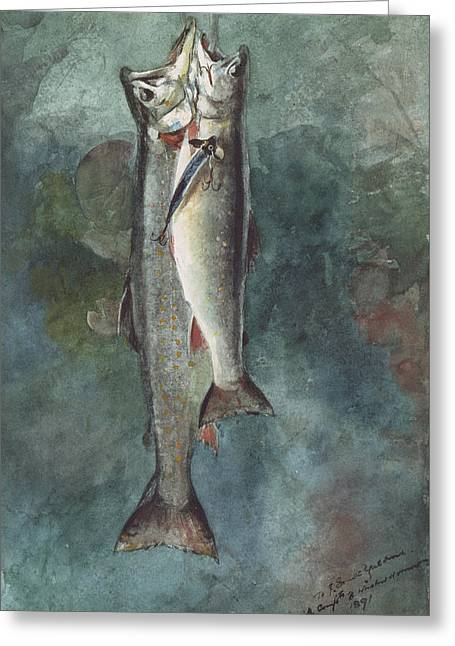 Two Trout Greeting Card by Winslow Homer