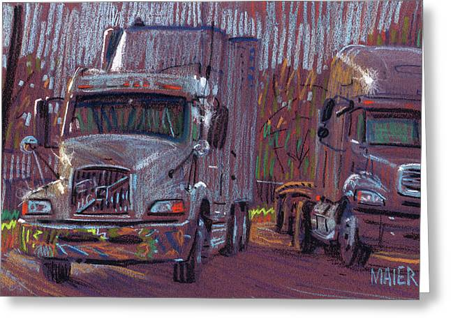 Two Trucks Greeting Card by Donald Maier