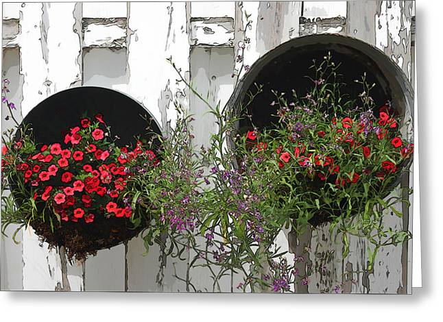Two Tub Planters Displayed On Fence - Digital Artwork Greeting Card by Sandra Foster