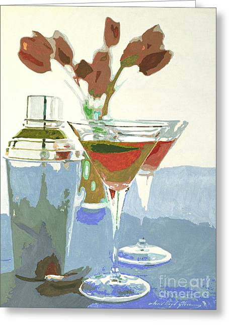 Two Tulip Martinis Greeting Card by David Lloyd Glover