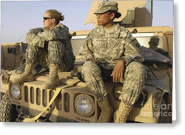 Two U.s. Army Soldiers Relax Prior Greeting Card by Stocktrek Images