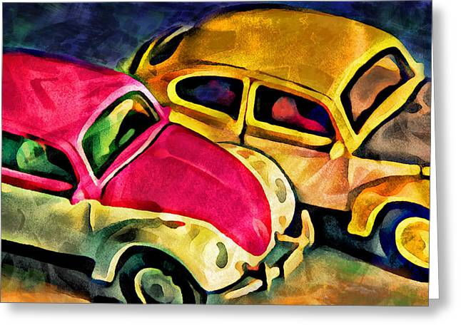 Two Volkswagens Greeting Card by Jeff  Gettis