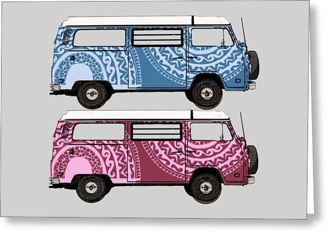 Two Vw Vans Greeting Card