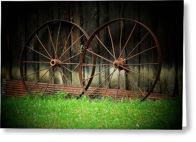 Two Wagon Wheels Greeting Card by Michael L Kimble