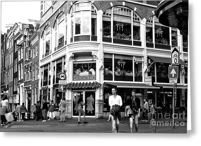 Two Walking In Amsterdam Mono Greeting Card by John Rizzuto