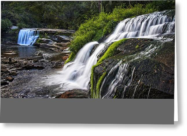 Blue Ridge Parkway In Fall Greeting Cards - Two Waterfalls at Living Waters Ministry - Mill Shoals Falls Greeting Card by Matt Plyler